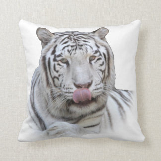 White Tiger Licking Lips - Mm-mm Good Throw Cushions