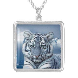 White Tiger Medium Square Necklace