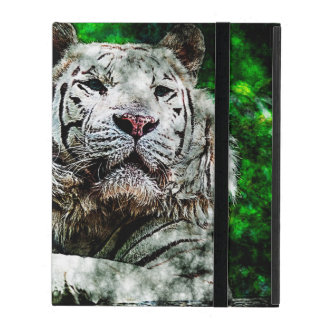 White Tiger Mixed Media iPad Cover