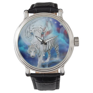 White Tiger Moon Patriotic Wearable Art Watch