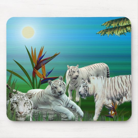 White Tiger Mousepad03 Mouse Mat