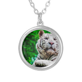 White Tiger Round Pendant Necklace