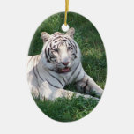 White tiger on green grass vertical frame picture ornament