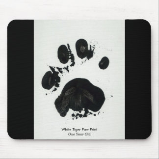 White Tiger Paw Print Mousepad
