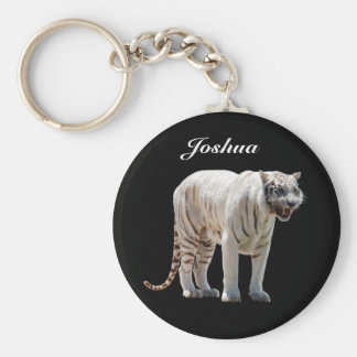White Tiger Personalized Key Ring