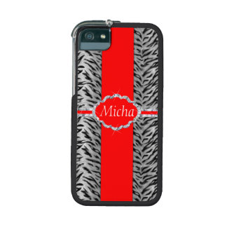 White Tiger Print Diamond Red Monogram Cover For iPhone 5