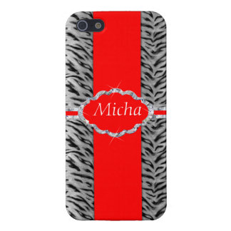 White Tiger Print Diamond Red Monogram iPhone 5/5S Cover