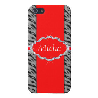 White Tiger Print Diamond Red Monogram iPhone 5/5S Covers