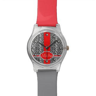White Tiger Print Diamond Red Monogram Watches
