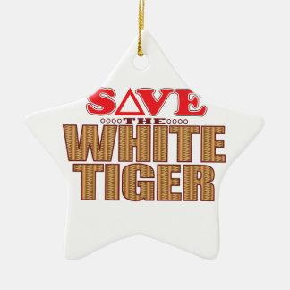 White Tiger Save Ceramic Star Decoration