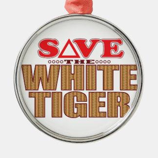 White Tiger Save Christmas Ornament