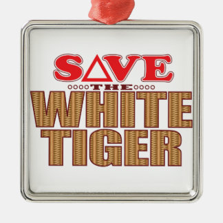 White Tiger Save Christmas Ornament