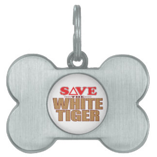 White Tiger Save Pet Name Tag