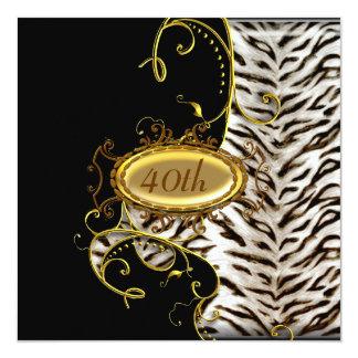 """White Tiger skin Birthday party Invitation 5.25"""" Square Invitation Card"""