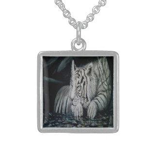 White Tiger Square Pendant Necklace