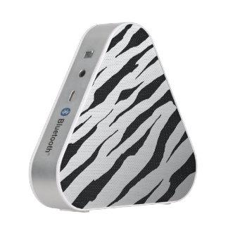 White Tiger Stripe Bluetooth Silver Speakers