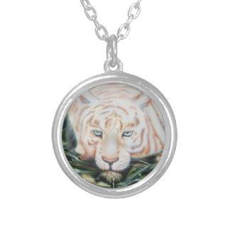 "White Tiger  ""The Swim"" Round Pendant Necklace"