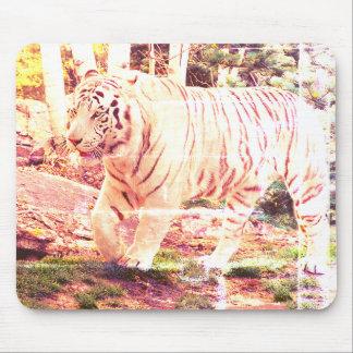 White Tiger Walking - Mouse Mat