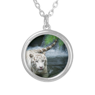 White Tiger Water Silver Plated Necklace