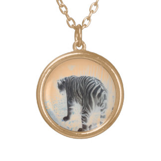 White Tiger wild animal Gold Plated Necklace