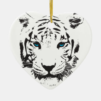 White Tiger with Blue Eyes Christmas Ornament