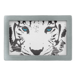 White Tiger with Blue Eyes Rectangular Belt Buckles