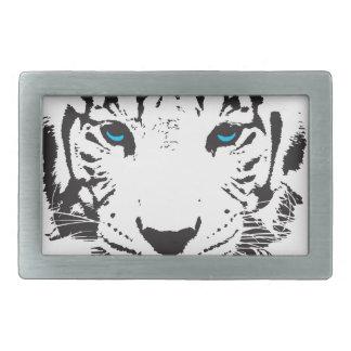 White Tiger with Blue Eyes Rectangular Belt Buckles