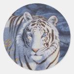 White Tiger with Blue Eyes Round Sticker