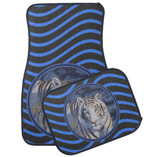 White Tiger with Striped Background. Floor Mat