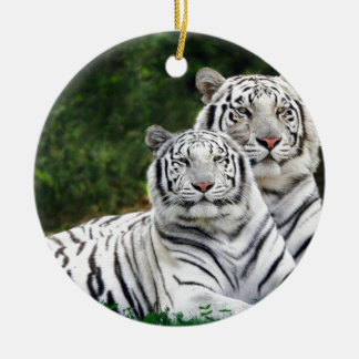 White Tigers Christmas Ornament