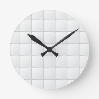 White tile round clock