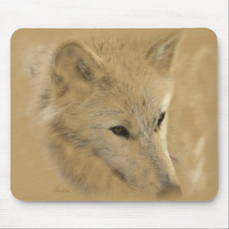 White Timber Wolf Chalk Drawing Mouse Mat