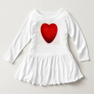 WHITE TODDLER RUFFLED DRESS WITH A BIG RED HEART