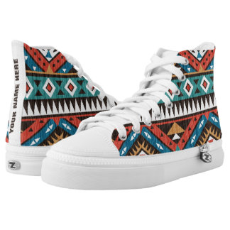 [White Tongue] Vintage Aztec Pattern Personalized High Tops