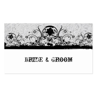 White Tooled Leather and Black Lace Place Cards Business Cards