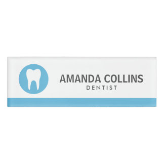White tooth logo blue dentist or dental clinic name tag