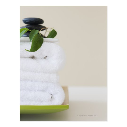 White towels and spa stones postcard