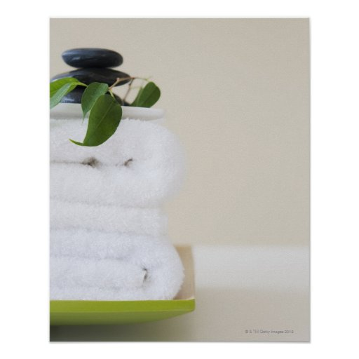 White towels and spa stones poster