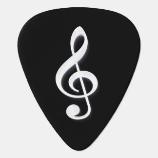 White Treble Clef on a Black Background Plectrum
