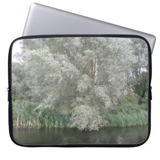 White Tree and River Landscape Laptop Sleeve