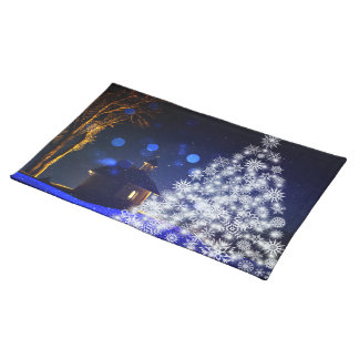 White tree blue christmas placemat