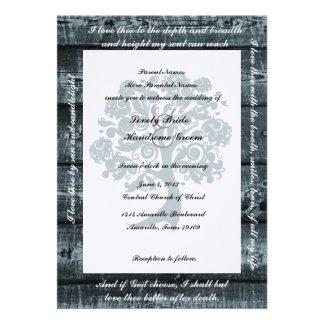 White Tree Blue Wood Poetry Wedding Invitation