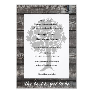 White Tree Gray Wood Poetry Wedding Invitation