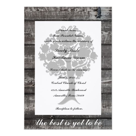 White Tree Grey Wood Poetry Wedding Invitation