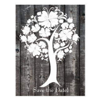 White Tree Old Wood Save the Date Postcards