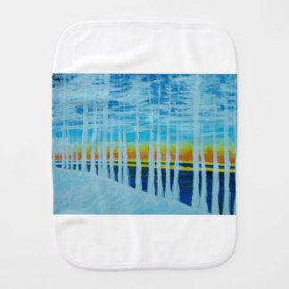 White trees by the lake burp cloth