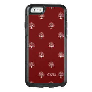 White Trees Pattern on Red Background Monogram OtterBox iPhone 6/6s Case