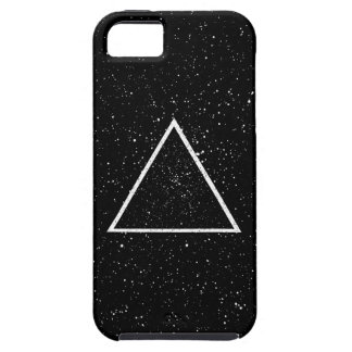 White triangle outline on black star background iPhone 5 case