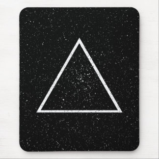 White triangle outline on black star background mouse mat