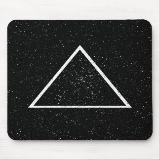 White triangle outline on black star background mouse pads